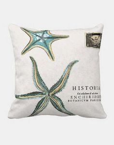 Pillow Cover Beach Decor Turquoise Starfish Cotton