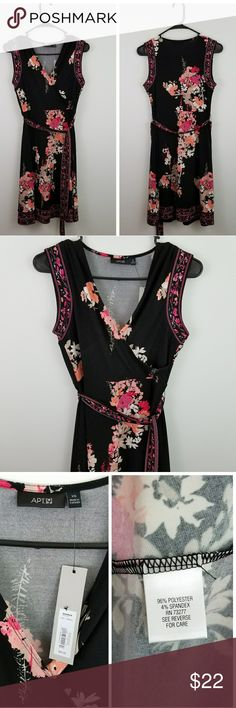 """NWT APT. 9 faux wrap floral print dress NWT. Comes with a matching fabric belt. Stretchy and comfortable.  Approx measurements (garment laying flat): Length - 36""""  Bust - 17"""" armpit to armpit  Waist - 13"""" straight across.   12 Apt. 9 Dresses"""
