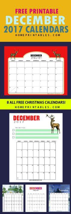 Free Calendar December 2017: 8 Christmas Themed! - Home Printables