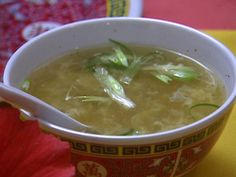 Asian Egg Drop Soup Recipe : Tyler Florence : Food Network use beef broth rather than chicken. Put a little less salt than you would think and added soy sauce to taste.