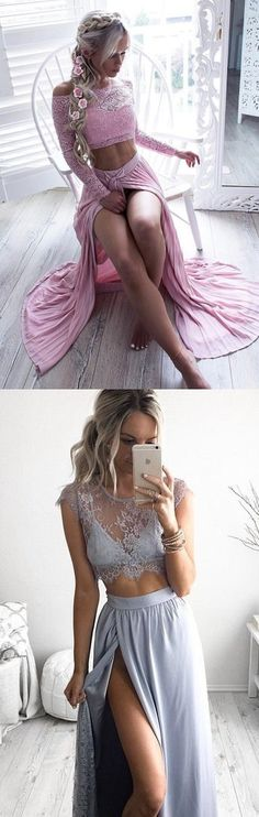 prom dresses 2017, elegant 2 pieces party dresses, pink lace prom dresses, baby blue party dresses