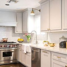 Pale Grey Kitchen Cabinets, Transitional, Kitchen