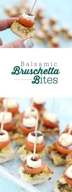 Balsamic Bruschetta Bites. The perfect mouth sized appetizer, perfect for multitasking: eating and watching the big game. #ad