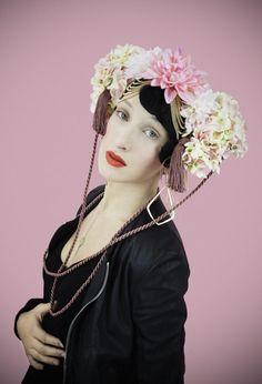 fumbalinas - SS14 summer headdress #summer #trend #hydrangeas #pink #blossoms #tassel #fashion #festival #kawaii