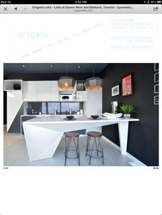 Origami Lofts - Folded Corian Kitchens Shaker Kitchen, Corian, Solid Surface, Lofts, Condominium, Surface Design, Origami, Wicked, Kitchens