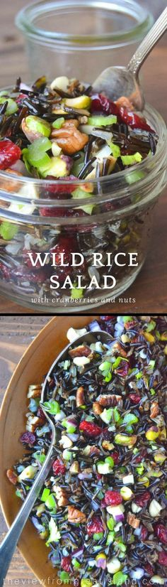 Wild Rice Salad with Cranberries + Nuts Beautiful! Wild Rice Salad with Cranberries + Nuts Whole Food Recipes, Cooking Recipes, Wild Rice Salad, Vegetarian Recipes, Healthy Recipes, Rice Salad Recipes, Healthy Salads, Healthy Food, Fresco