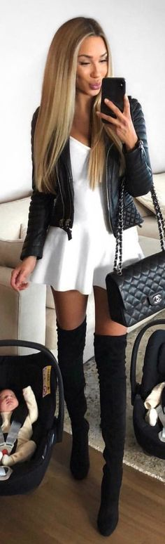 #winter #outfits white skater skirt and black leather zip-up jacket