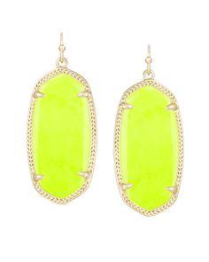 Elle Earrings in Neon Yellow.