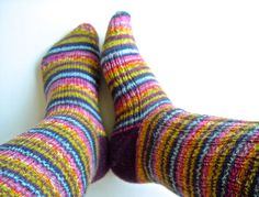 Socks - hand knit self striping #knitting