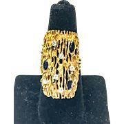 Vintage Rectangular 18K Yellow Gold Diamond and Sapphire Ring