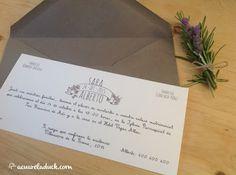 Invitaciones de boda. Invitación boda gris. Invitación boda clásica. Invitación alargada.
