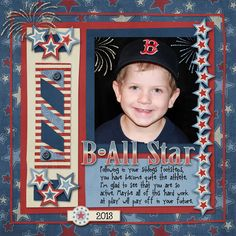 1 photo 1 page B-All Star - Scrapbook.com  Like this one!