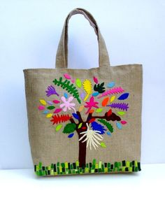 Tote bag with colorful tree elegantfunctionalversatile by Apopsis, $80.00