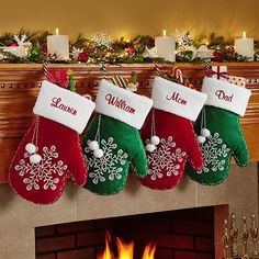 Send Snowflake Mitten Stocking and other personalized gifts at Personal Creations. Couple Christmas Stockings, Embroidered Christmas Stockings, Xmas Stockings, Christmas Couple, Christmas Gift Bags, Office Christmas, Christmas Ornament Crafts, Christmas Sewing, Christmas Makes