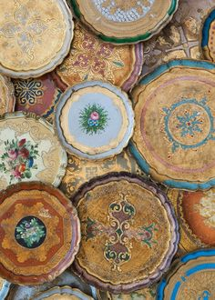 Can't get enough of these colorful, rustic Florentine trays from Casa de Perrin - LA wedding tableware & decor rental!
