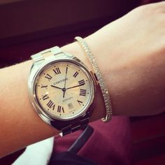 It's Watch Wednesday! Check out the gorgeous new Cartier Clé - we love the elegant look of this timepiece, especially with a rose gold diamond bracelet! Trendy Watches, Jewelry Watches, Cartier Watches, Fashion Watches, Girl Watches, French Chic, Diamond Bracelets, Necklace Designs, Fashion Boots