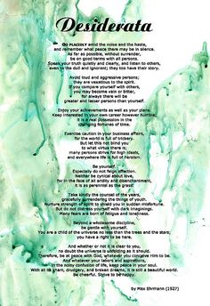 Desiderata by Max Ehrmann on my Tranquility original painting.  Sharon Cummings.