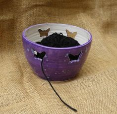 Knitting or crochet  bowl with butterflies