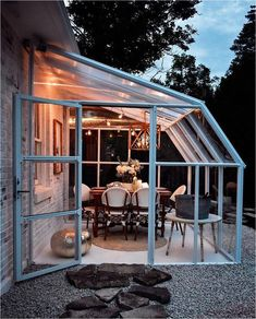 Could this work right off the patio to let more light into the living room? Sunroom from Tractor Supply -- easy, beautiful addition for dining, a sunroom, greenhouse, and more! Perfect to add to a backyard and enjoy all year long. Backyard Greenhouse, Backyard Patio, Greenhouse Ideas, Backyard Storage, Greenhouse Attached To House, Cheap Greenhouse, Greenhouse Kitchen, Lean To Greenhouse, Portable Greenhouse