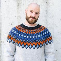 Prismatic Dusk pattern by Dario Tubiana - RossoCardinale Icelandic Sweaters, Wool Sweaters, Fair Isle Pattern, Knitwear, Street Wear, Men Sweater, Beanie, Sweater Patterns, Mens Fashion