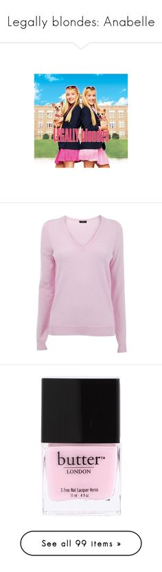 """""""Legally blondes: Anabelle"""" by apreppygreaserdoll ❤ liked on Polyvore featuring tops, sweaters, shirts, pink, jumpers, pink sweater, pink long sleeve shirt, pink v neck sweater, knit sweater and long sleeve knit shirt"""
