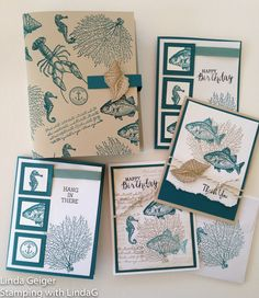"Image of a box, four cards, and an envelope, stamped with Stampin' Up! Stamp Set ""By the Tide."" Colors are island indigo and crumb cake."