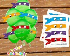 Ninja Turtles Balloon Mask Stickers by PartyPrintablesFer on Etsy Ninja Turtle Party, Ninja Turtle Balloons, Ninja Party, Ninja Turtle Birthday, Ninja Turtles, Turtle Birthday Parties, Birthday Ideas, 5th Birthday, Birthday Party Decorations