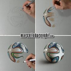 Brazuca, the official match ball of 2014 FIFA World Cup, four drawing stages by Marcello Barenghi.