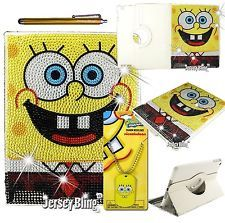 BLING! iPad 2/3/4 Crystal Leather Sponge bob 360 Rotating Case Dog Tag Gift Set