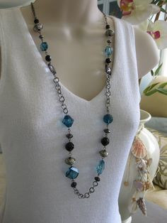 Long Necklace Long Black and Blue Beaded by RalstonOriginals