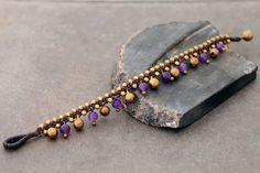 Gypsy Bracelet, Anklet Bracelet, Anklets, Bracelet Making, Jewelry Making, Brass Bell, Woven Bracelets, Macrame Jewelry, Amethyst Stone