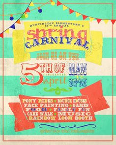 Spring Carnival / Fair / Market / Festival / Show / Grand Opening / Fundraiser / Social Event Flyer Poster Advertisement Invitation - Digital CUSTOMIZABLE PRINTABLE DOWNLOAD by Jalipeno Digital Art. Perfect for your Church, Company or School's Activity or Party!