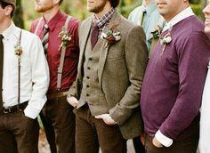 groomsmen mix match neutral colors - brown, gray, blue, purple, white.