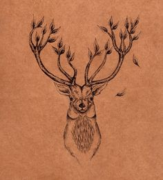 Leafy Stag Tattoo Design - so pretty! Deer tattoo