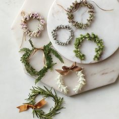 Mini wreath laurels.  Use mini carnations, wax myrtle berries, purple oregano, ferns, green oregano, string white hyacinth, and rosemary sprigs.