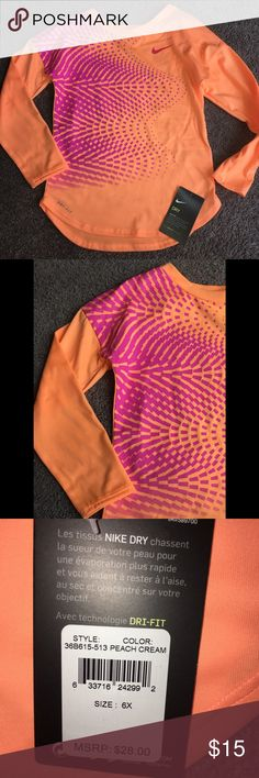 Nike dri fit top, size 6x , NWT Top has two small dots on back see all photos!!! $28 Dri fit top great spring color Nike Shirts & Tops Tees - Long Sleeve
