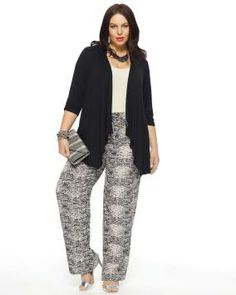 Tribal Print Flowy Pant #Penningtons $45.00  The flowy challis fabric with an on-trend tribal print forms this stylish plus-size pant for an effortless, casual chic look. Features elastic waistband and drawstring for a comfortable fit. Length: 32 inches. Looks great with a safari-style jacket. Color Dune Beige