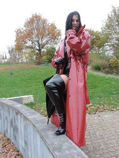 DSCN7430 Red Raincoat, Vinyl Raincoat, Plastic Raincoat, High Leather Boots, Rain Gear, Erotic Photography, Women Wear, Lady, Mistress