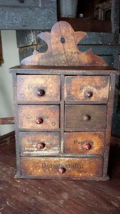 *** Primitive Cabinets, Primitive Furniture, Primitive Antiques, Antique Furniture, Small Furniture, Funky Furniture, Spice Cabinets, Early American Furniture, Spice Organization