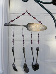 Wind chime with re purposed vintage silver by WhisperingRainbows, $30.00