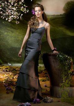 Multi-layer Black Sheath Spaghetti Straps Satin Floor Length Dress