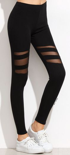 Workout style! Black activewear leggings with mesh cutout detail.