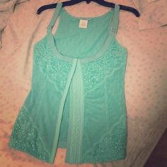 Marciano bustier lace tank top turquoise Lace bustier tank top turquoise Marciano Tops Tank Tops