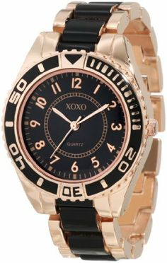 XOXO Women's XO5468 Rose Gold And Black Bracelet Watch XOXO. $19.99. Rose Gold and Black bracelet band. Jewelry clasp. Case diameter: 38 mm. Black dial with arabic numeral display. Quality analog-quartz movement