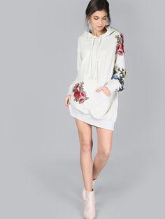 Kleid mit gestickten rosa Haube- German SheIn(Sheinside) Kleider, Hauben,  Hoodie 33ce180f40