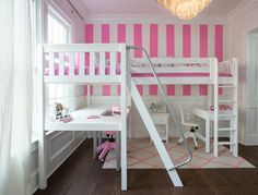 Beautiful Girl\'s Bedroom with White Corner Loft. This freshly designed room is quickly becoming one of our favorite designs for a girl\'s bedroom. There are so many features that make it pretty, practical and charming. Bedroom Layouts, Room Ideas Bedroom, Girl Bedroom Designs, Girls Bedroom, Kid Beds, Bunk Beds, Loft Beds, Kids Bedroom Furniture, Diy Furniture