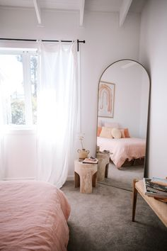 Home Decoration Themes Boho Beach Bedroom Ideas and Inspiration Bedroom Decor For Couples, Home Decor Bedroom, Bedroom Ideas, Bedroom Wall, Budget Bedroom, Bedroom Inspo, Large Bedroom Mirror, Earthy Bedroom, Dark Wood Bedroom