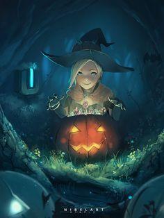 Little Mercy Halloween, Nibel ART on ArtStation at https://www.artstation.com/artwork/qP8va