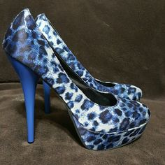 Stunning Fahrenheit statement heels These beautiful royal blue Leopard print heels are a must have! Look awesome with skinny jeans, skirts, short shorts, and dressy slacks. Worn 1 time. Fahrenheit  Shoes Platforms
