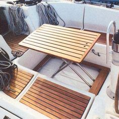 Boat cockpit table / fold away / teak - - CASA MARE - Videos                                                                                                                                                                                 More